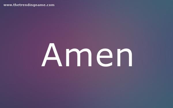 Baby Name Poster For Amen