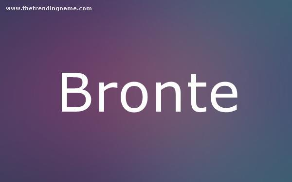Baby Name Poster For Bronte