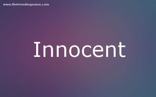 Baby Name Poster For Innocent