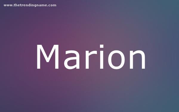 Baby Name Poster For Marion