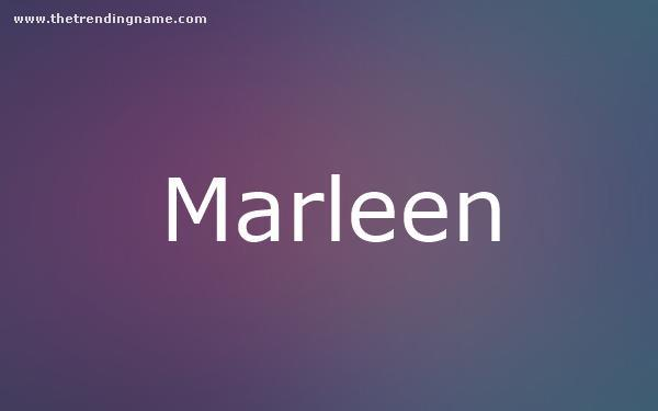 Baby Name Poster For Marleen