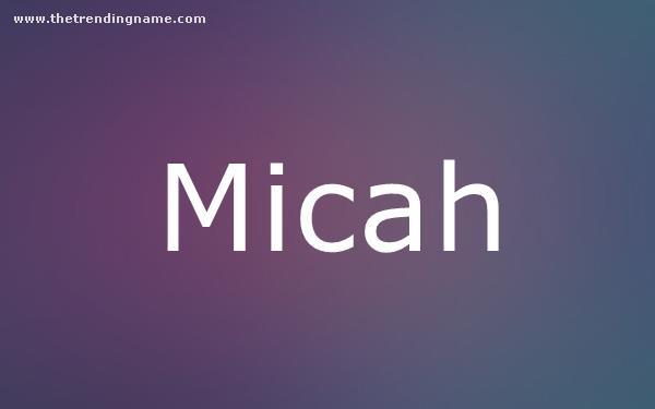 Baby Name Poster For Micah