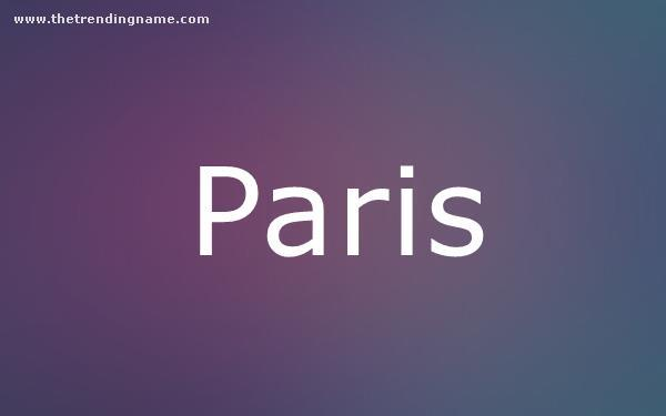 Baby Name Poster For Paris