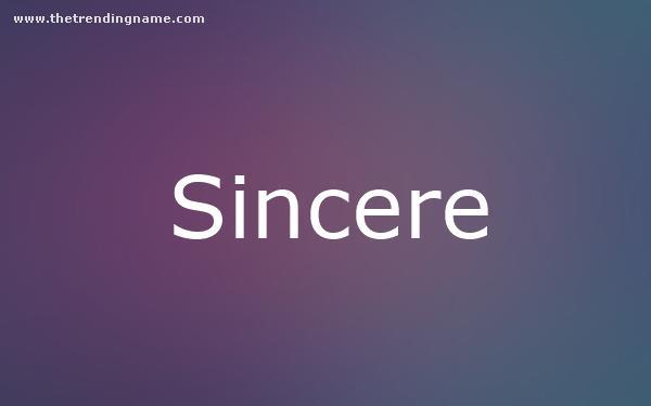 Baby Name Poster For Sincere