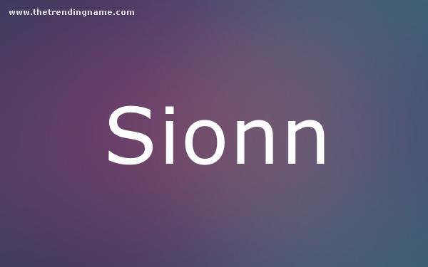 Baby Name Poster For Sionn