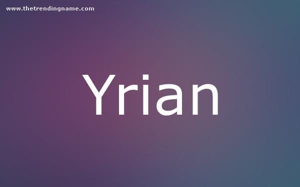 Baby Name Poster For Yrian