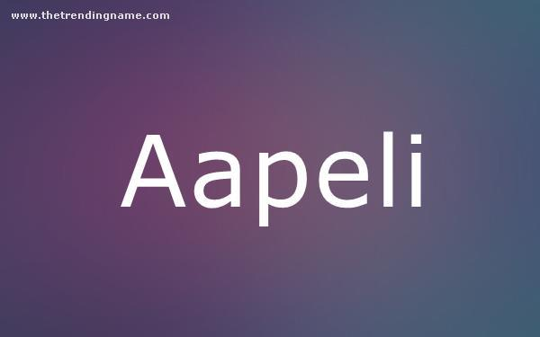 Baby Name Poster For Aapeli
