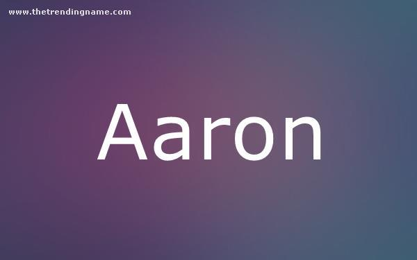Baby Name Poster For Aaron