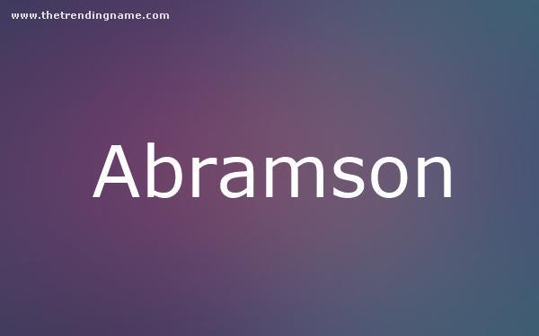 Baby Name Poster For Abramson
