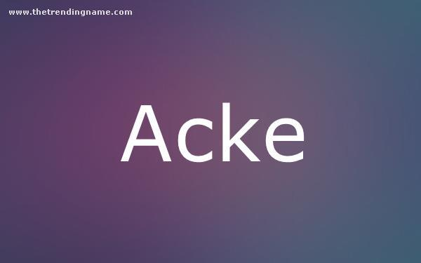 Baby Name Poster For Acke