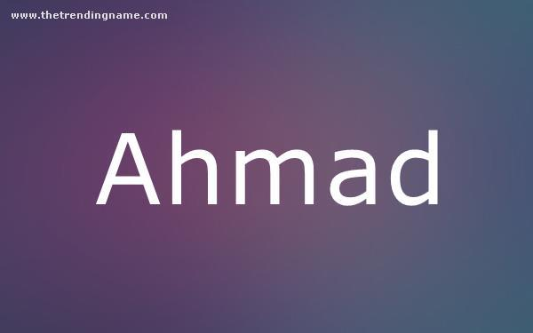 Baby Name Poster For Ahmad
