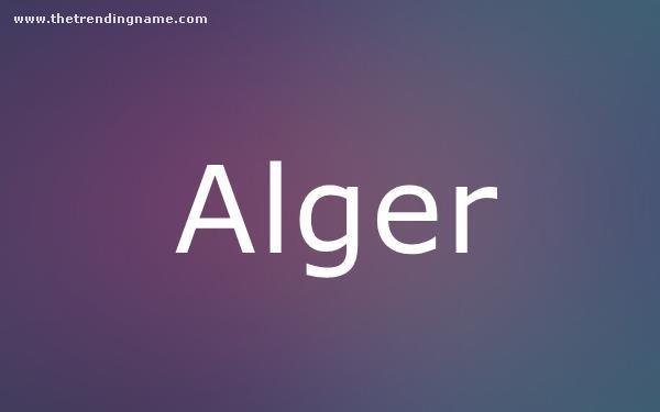 Baby Name Poster For Alger