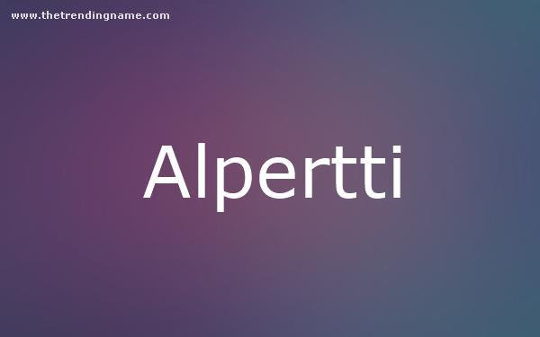 Baby Name Poster For Alpertti