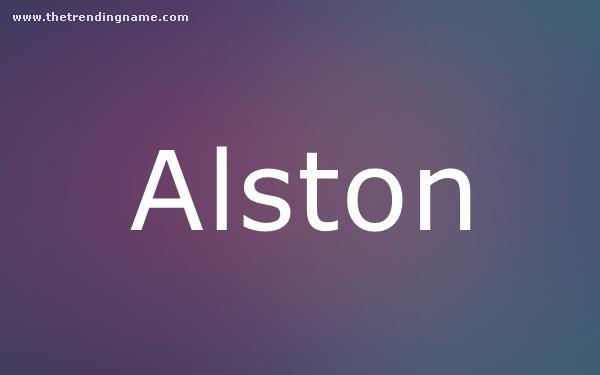 Baby Name Poster For Alston