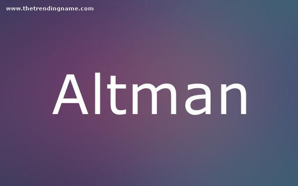 Baby Name Poster For Altman