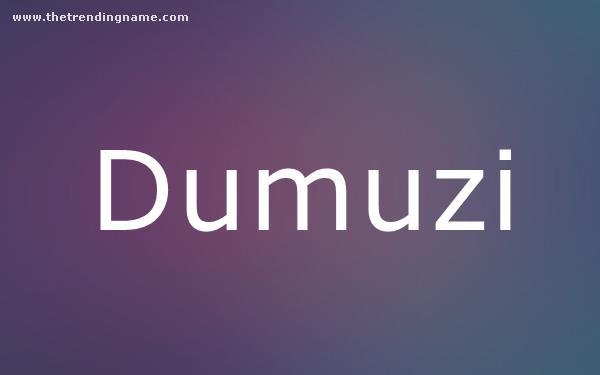 Baby Name Poster For Dumuzi