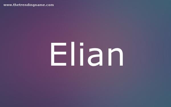 Baby Name Poster For Elian