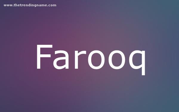 Baby Name Poster For Farooq