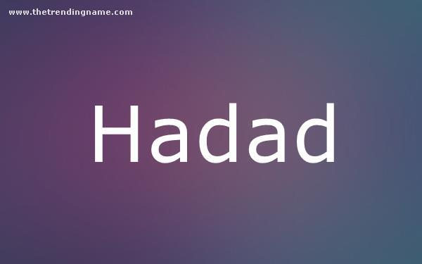 Baby Name Poster For Hadad