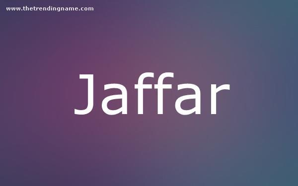 Baby Name Poster For Jaffar