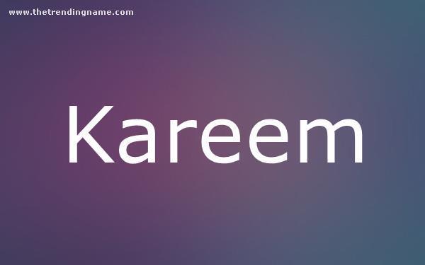 Baby Name Poster For Kareem