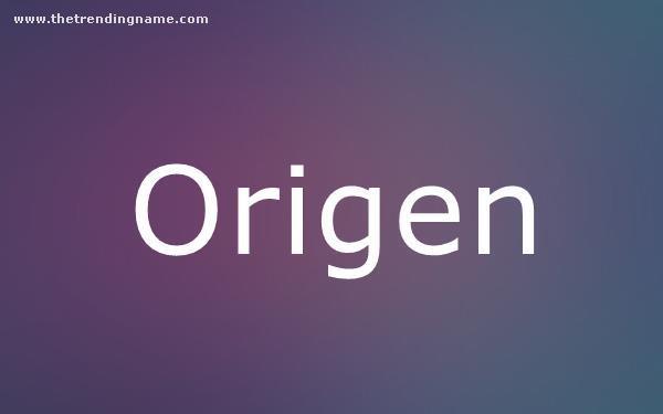 Baby Name Poster For Origen