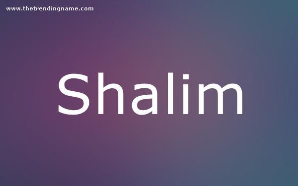 Baby Name Poster For Shalim