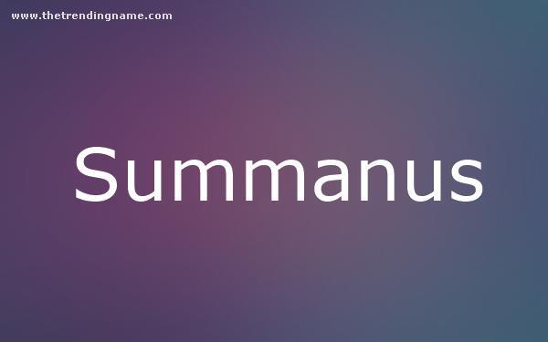 Baby Name Poster For Summanus