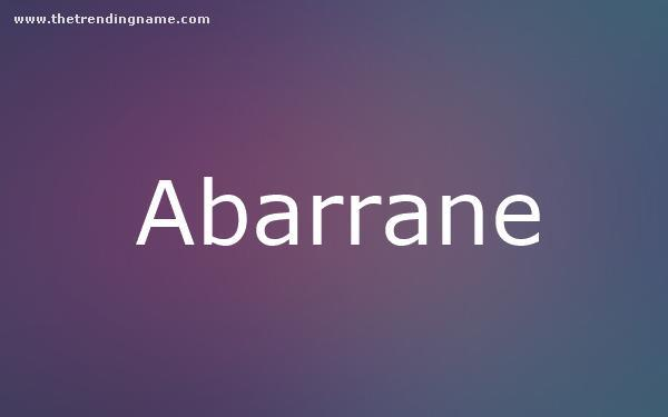 Baby Name Poster For Abarrane