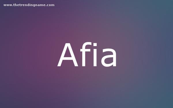 Baby Name Poster For Afia