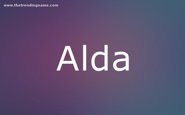 Baby Name Poster For Alda