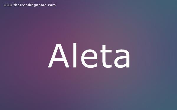 Baby Name Poster For Aleta
