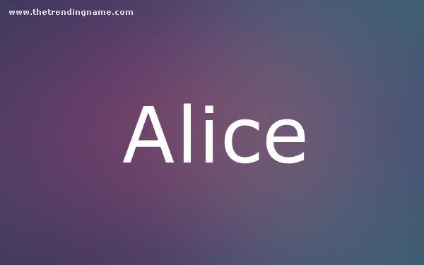 Baby Name Poster For Alice