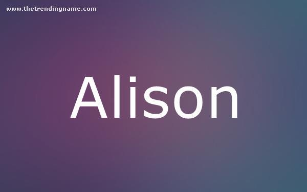Baby Name Poster For Alison