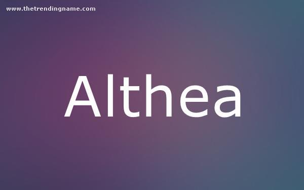 Baby Name Poster For Althea