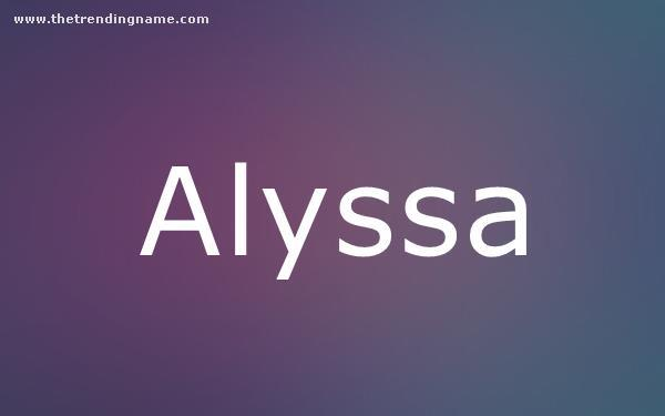 Baby Name Poster For Alyssa