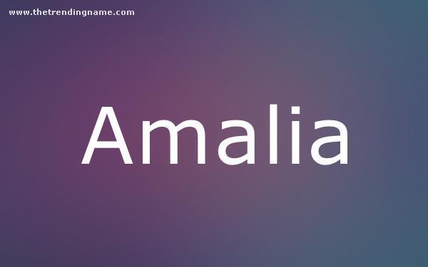 Baby Name Poster For Amalia