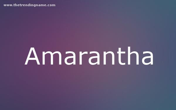Baby Name Poster For Amarantha