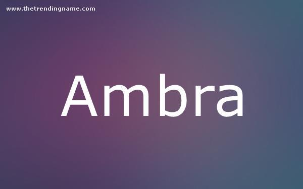 Baby Name Poster For Ambra