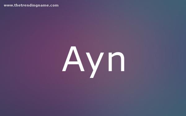 Baby Name Poster For Ayn