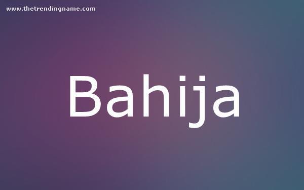 Baby Name Poster For Bahija