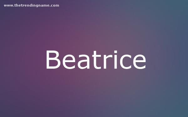 Baby Name Poster For Beatrice