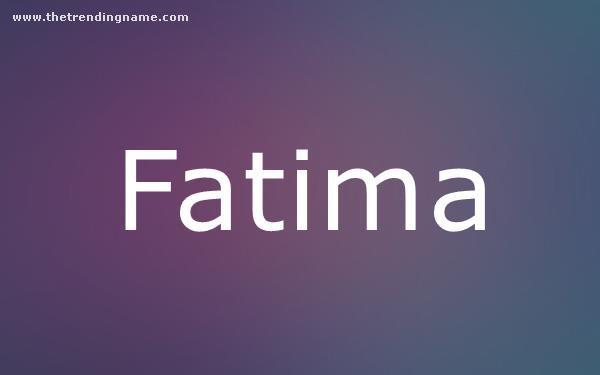 Baby Name Poster For Fatima