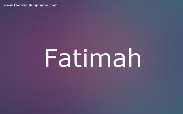 Baby Name Poster For Fatimah