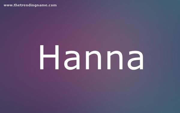 Baby Name Poster For Hanna