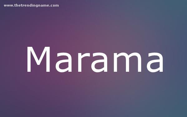 Baby Name Poster For Marama
