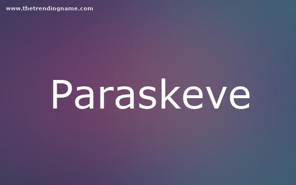 Baby Name Poster For Paraskeve