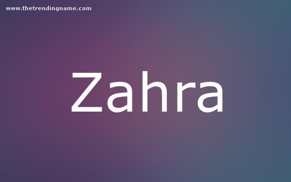 Baby Name Poster For Zahra