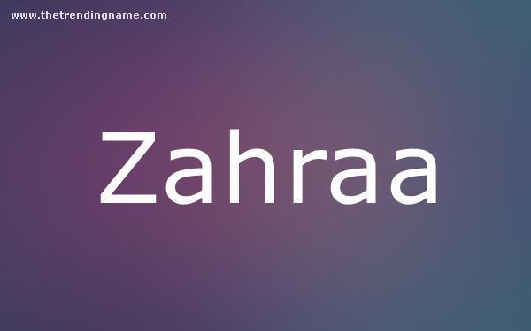 Baby Name Poster For Zahraa