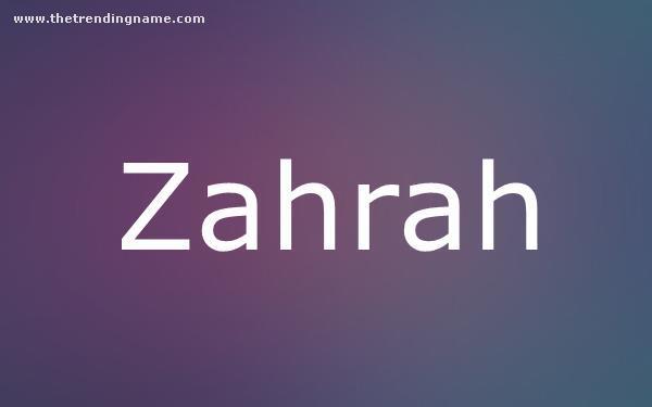 Baby Name Poster For Zahrah
